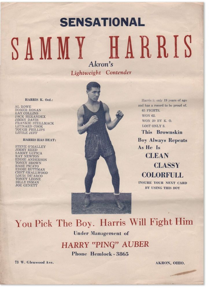 "Broadside: ""Sensational Sammy Harris: Akron's Lightweight Contender [...] This Brownskin Boy..."