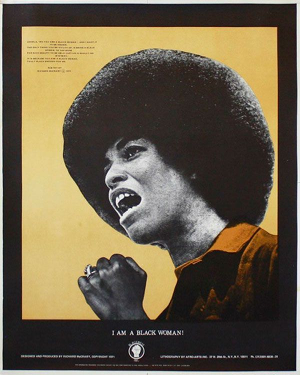 Original Poster: I Am A Black Woman. AFRICAN AMERICANS, poem, design, Angela DAVIS