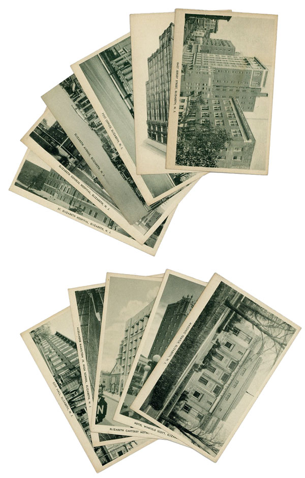 Eleven photographic post card views of Elizabeth, New Jersey, ca 1930s. ART PHOTO GREETING COMPANY