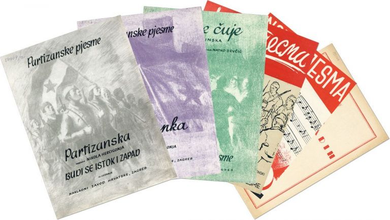 A Collection of 18 pieces of Yugoslavian nationalist partisan sheet music. SONGBOOKS, YUGOSLAVIA