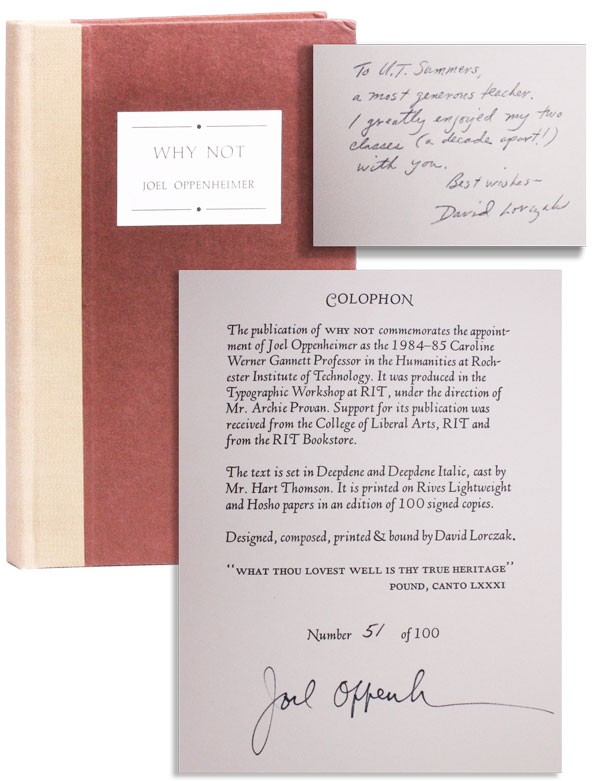 Why Not [Limited Edition, Signed]. Joel OPPENHEIMER, design David Lorczak, binding