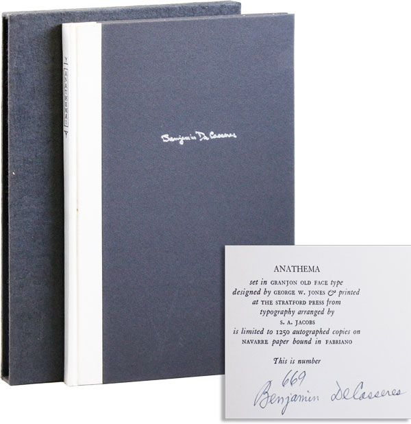 Anathema! Litanies of Negation [Limited Edition, Signed]. Benjamin DE CASSERES, foreword Eugene...