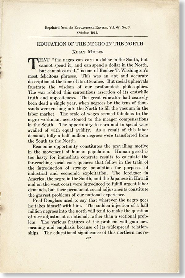 Education of the Negro in the North. Reprinted from the Educational Review, VOl. 62, No. 3....