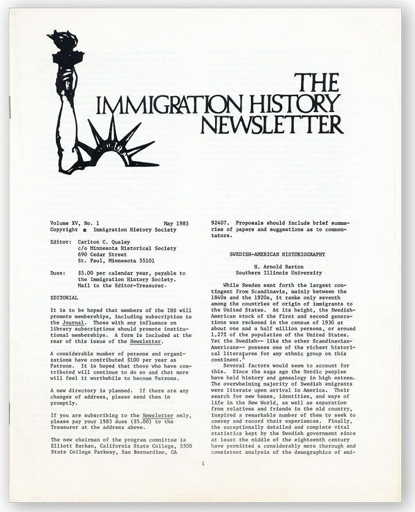 The Immigration History Newsletter, Vol. XV, no. 1, May, 1983. IMMIGRATION HISTORICAL SOCIETY, Carlton C. QUALEY, ed.