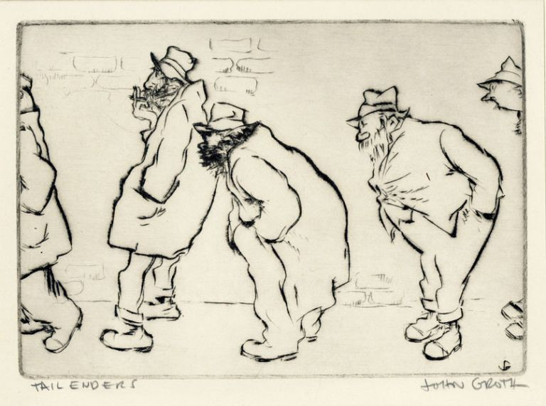 "Drypoint Etching: ""Tail Enders"" John GROTH"