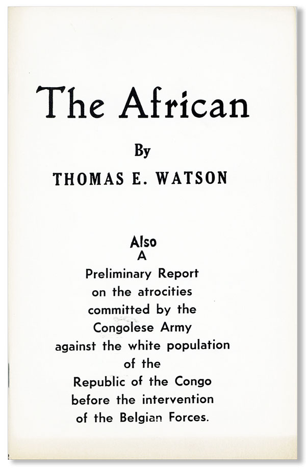 The African [...] Also, A preliminary report on the atrocities committed by the Congolese Army...