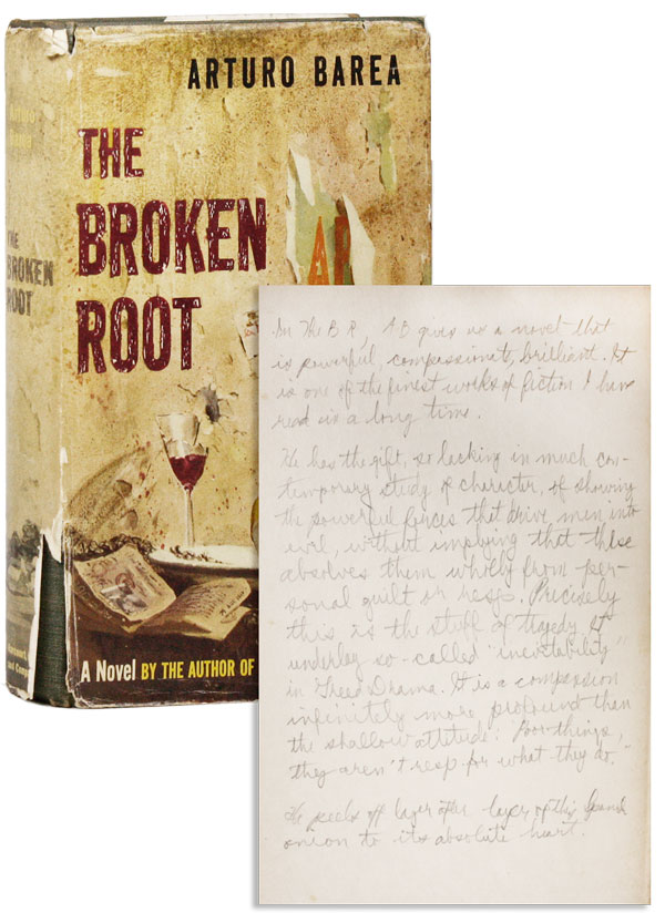 The Broken Root [Edmund Fuller's Advance Copy]. Arturo BAREA, trans Ilsa Barea.