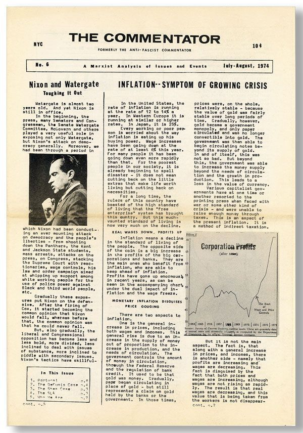 The Commentator. A Marxist Analysis of Issues and Events (Formerly the Anti-Fascist Commentator). No. 6, July-August, 1974. Dave DAVIS.