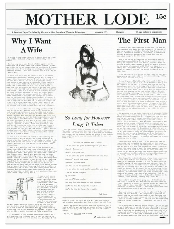 Mother Lode: A Feminist Paper Published by Women in the San Francisco Women's Liberation. Nos....