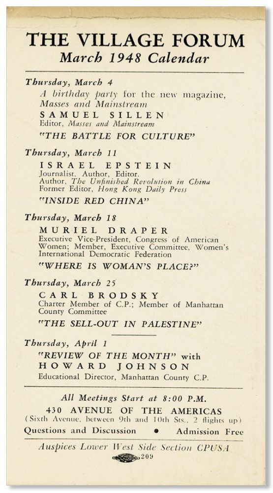 The Village Forum March 1948 Calendar [drop title]. CPUSA -- LOWER WEST SIDE SECTION.