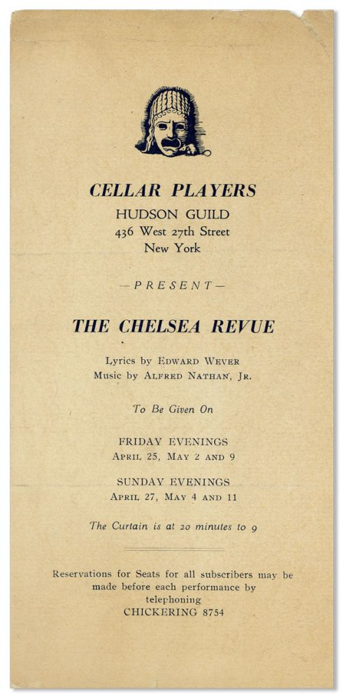 Broadside: Cellar Players, Hudson Guild Present the Chelsea Review. HUDSON GUILD CELLAR PLAYERS