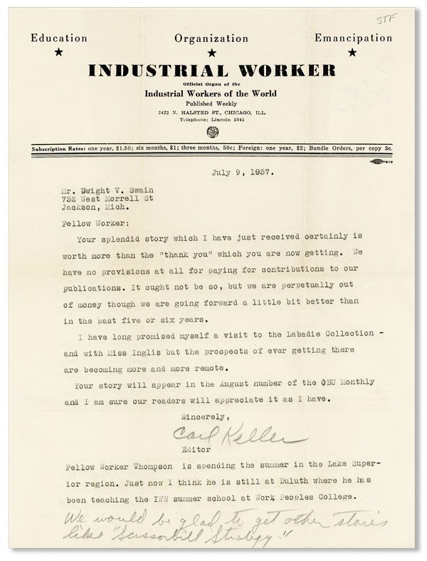 Typed Letter, Signed, Addressed to Dwight V. Swain. Carl KELLER