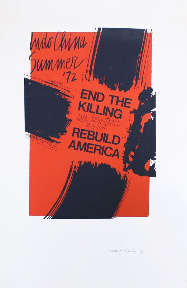 Poster: Indo China Summer '72 - End The Killing - Call Resistance PE-5-1350 - Rebuild America. Samuel C. MAITIN.