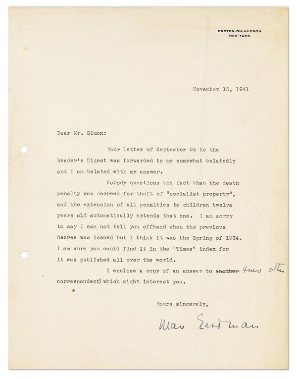 "Typed Letter, signed. 1pp, to ""Mr. Simon"", dated November 15, 1941. AUTOGRAPHS & MANUSCRIPTS, RADICAL AUTHORS, Max EASTMAN."