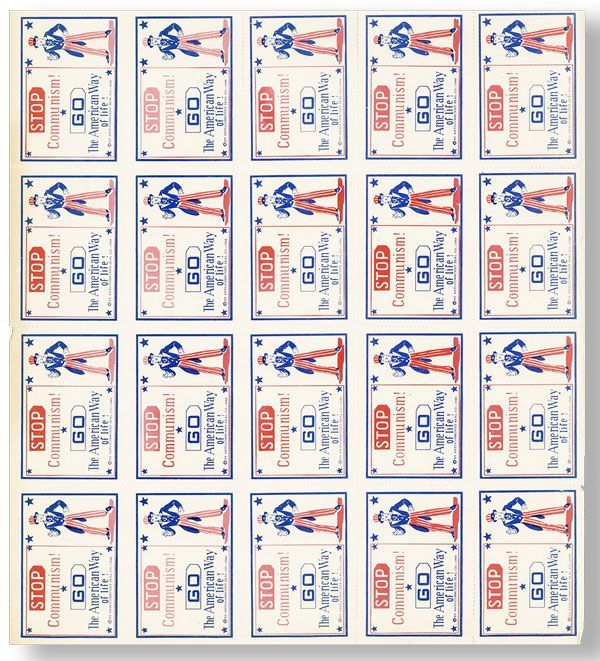 Stop Communism! [Complete (?) Sheet of 20 Anti-Communist Stamps Issued by The Anti-Communist Seal...