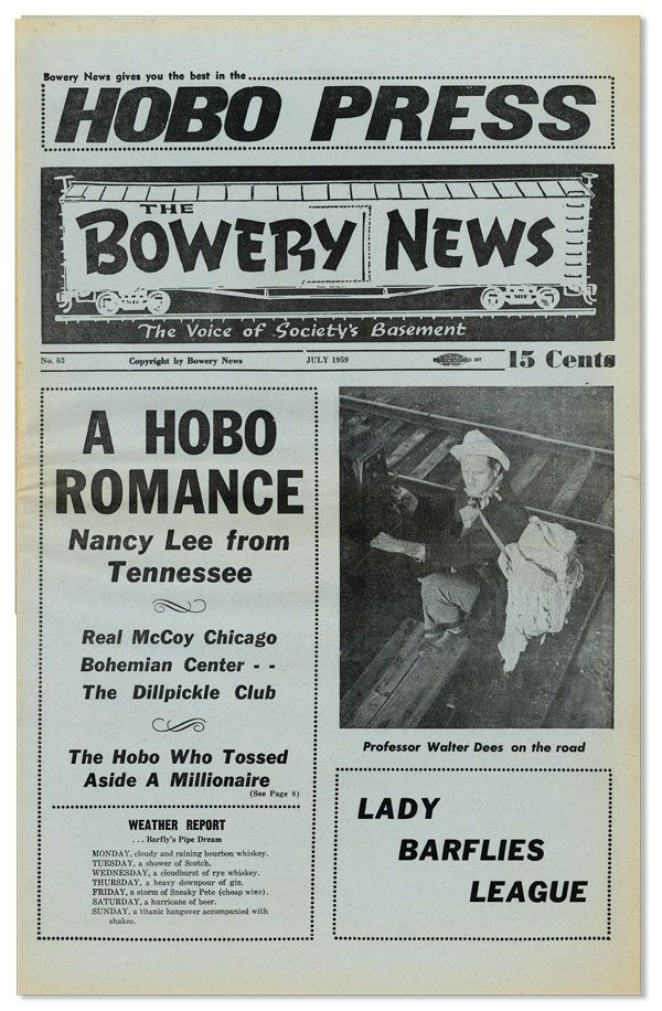 Hobo Press / The Bowery News. The Voice of Society's Basement. No. 63 (July 1959). Harry Baronian