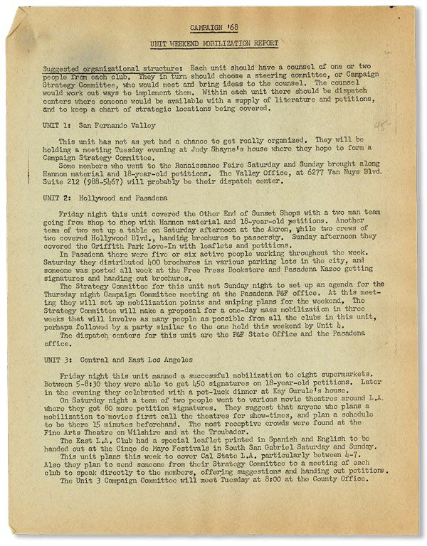 Mimeographed Memo: Campaign '68: Unit Weekend Mobilization Report. PEACE AND FREEDOM PARTY