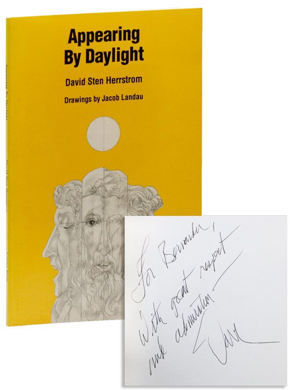 Appearing By Daylight [Inscribed]. David Sten HERRSTROM, Jacob LANDAU, poems, illustrations