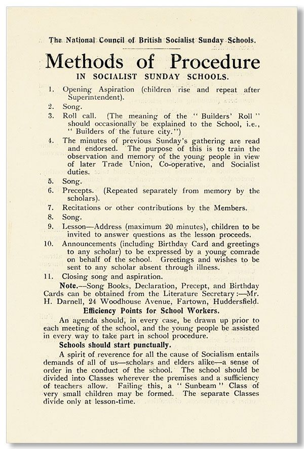 Broadsheet: Methods of Procedure in Socialist Sunday Schools. NATIONAL COUNCIL OF BRITISH SOCIALIST SUNDAY SCHOOLS.