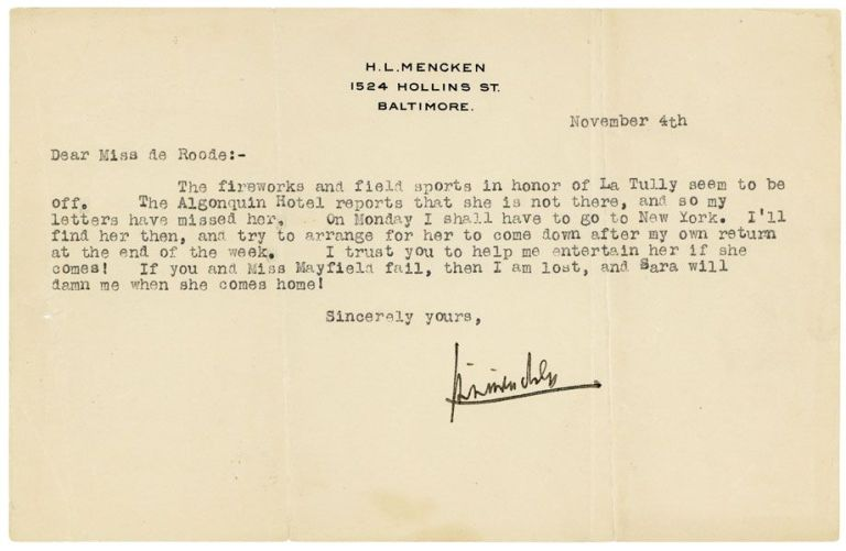 Collection of Four Pieces of Signed Correspondence to His Secretary Polly de Roode Regarding a Visit from Jim Tully's Wife Marna. H. L. MENCKEN.
