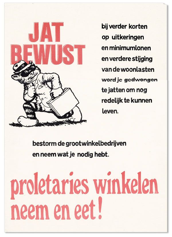 Poster: Jat Bewust. Proletaries winkelen, neem et eet! [Take Freely. Proletarian shopping: take and eat!]
