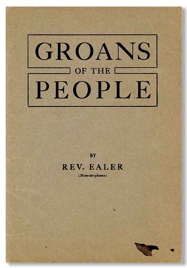 Groans of the People. EALER Rev, pseud. Jacob Rubin