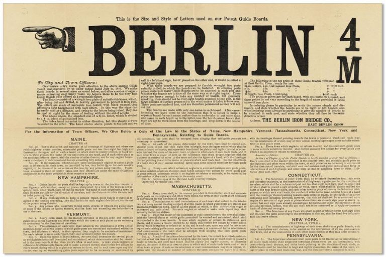 Broadside: This is the Size and Style of Letters used on our Patent Guide Boards. BERLIN 4 / M. BERLIN IRON BRIDGE CO.