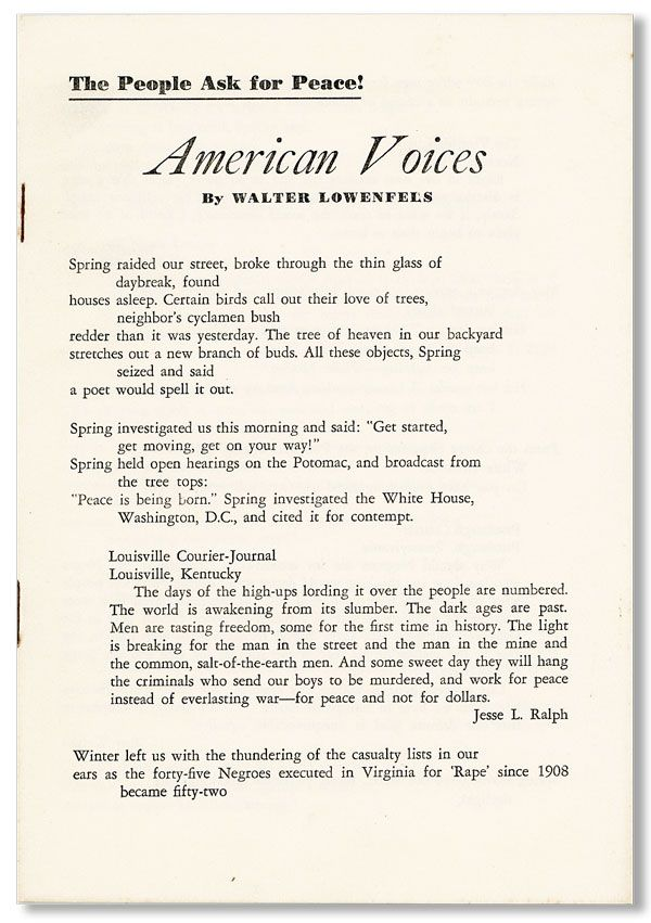 American Voices / The People Ask for Peace! Walter LOWENFELS.