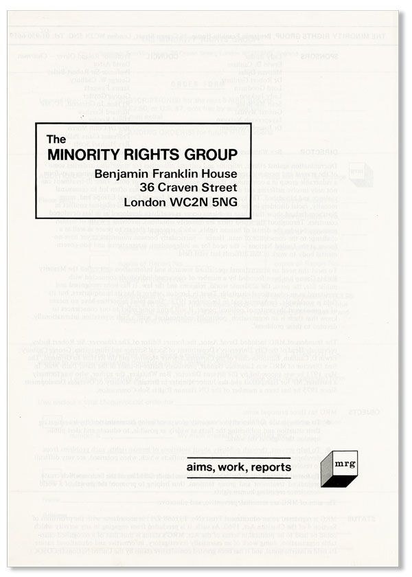 The Minority Rights Group [...] Aims, Work, Reports. MINORITY RIGHTS GROUP