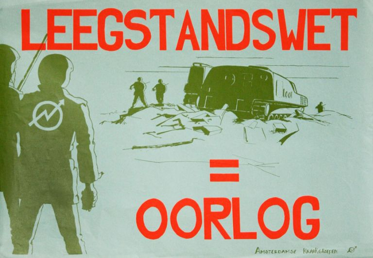 Poster] Leegstandswet = Oorlog [Vacancy Law = War]. SQUATTERS MOVEMENT - NETHERLANDS, AMSTERDAMSE...