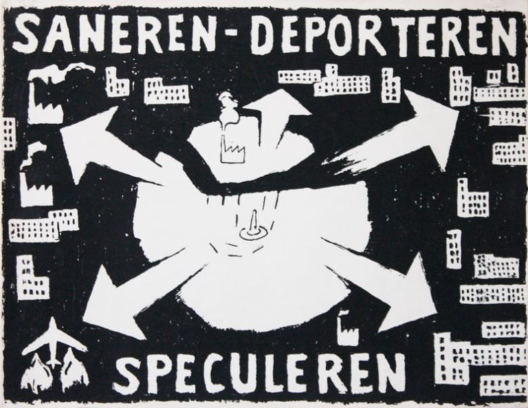 Poster] Saneren - Deporteren - Speculeren [Cleaning Up - Deportation - Speculation]. Ernest...