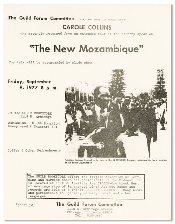 "The Guild Forum Committee invites you to come hear Carole Collins...""The New Mozambique""..."
