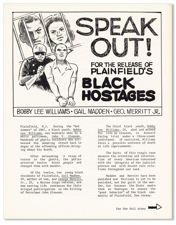 Speak Out! For the Release of Plainfield's Black Hostages: Bobby Lee Williams, Gail Madden,...