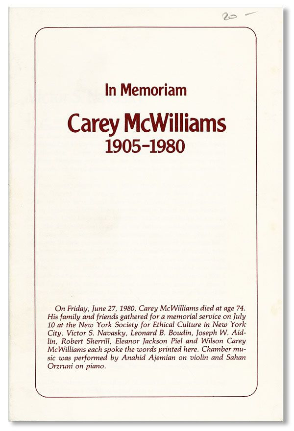 In Memoriam Carey McWilliams, 1905-1980. Carey McWILLIAMS, Victor NAVASKY