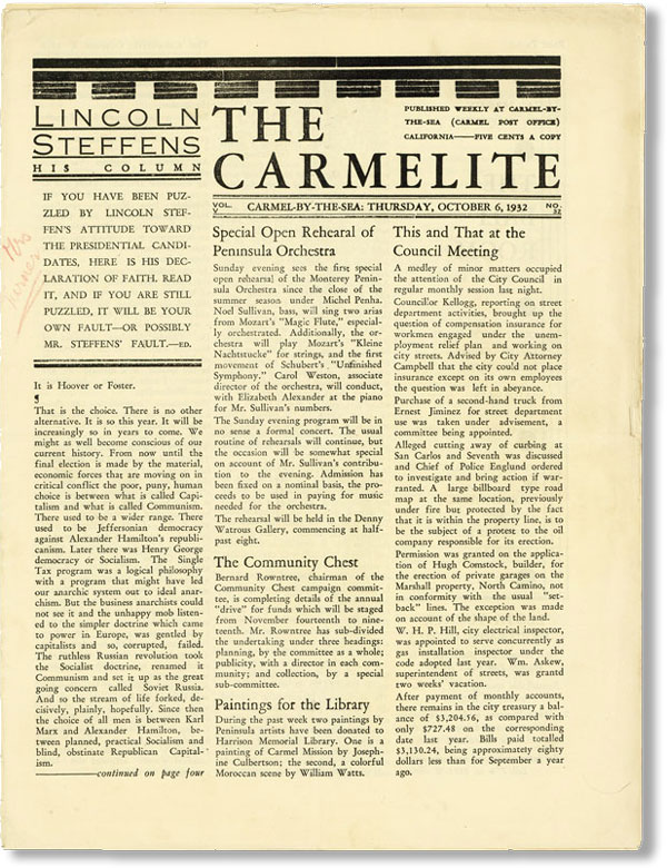 "Lincoln Steffens, ""His Column"" in The Carmelite, Vol V, no 32 (October 6, 1932). LINCOLN..."