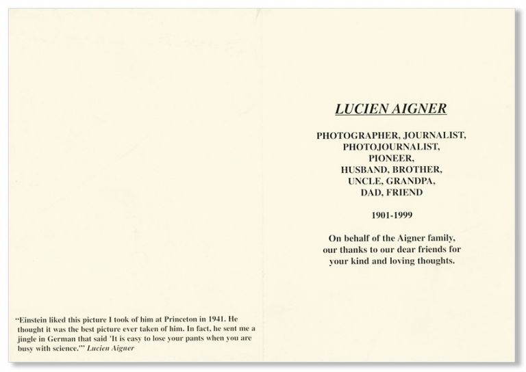 [Memorial Card for Lucien Aigner]. Lucien AIGNER.