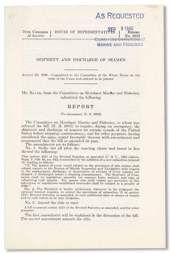 Shipment and Discharge of Seamen. UNITED STATES CONGRESS