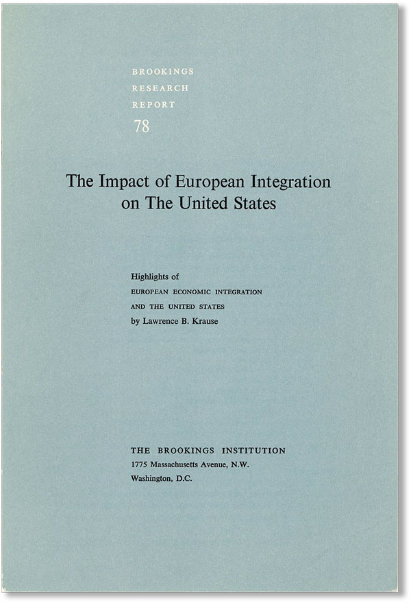 "The Impact of European Integration on the United States: Highlights of ""European Economic..."