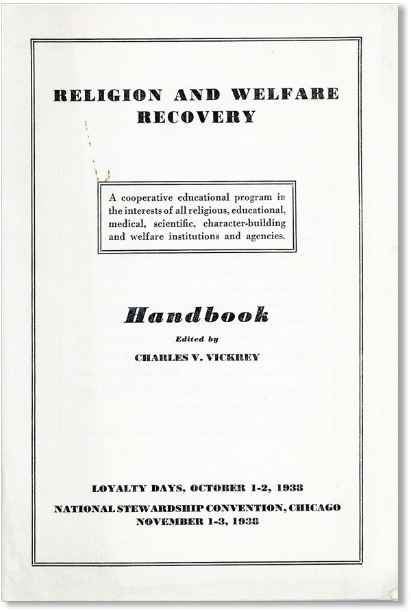 Religion and Welfare Recovery Handbook. Charles V. VICKREY