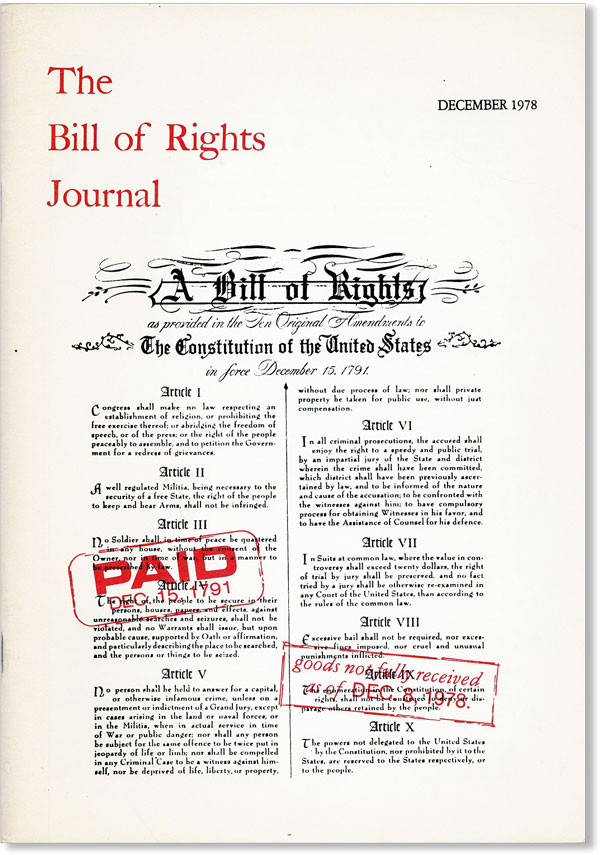 The Bill of Rights Journal. Volume XI - December 1978. Max GORDON, Howard A. Rodman