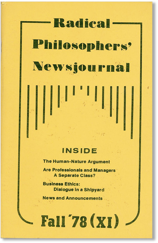 Radical Philosophers' Newsjournal - no. XI (Fall '78). Larry BLUM, eds