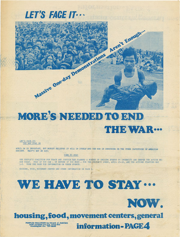 Let's Face It...Massive One-Day Demonstrations Aren't Enough...More's Needed to End the War...We...