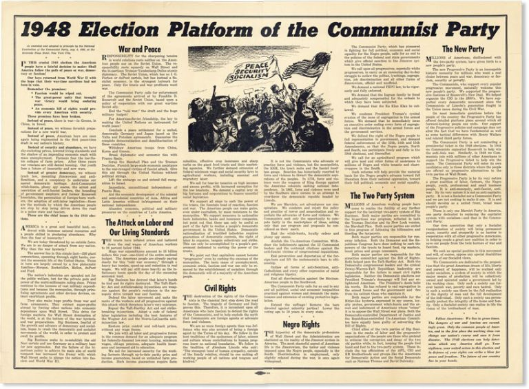 Broadside: 1948 Election Platform of the Communist Party. As amended and adopted in principle by...