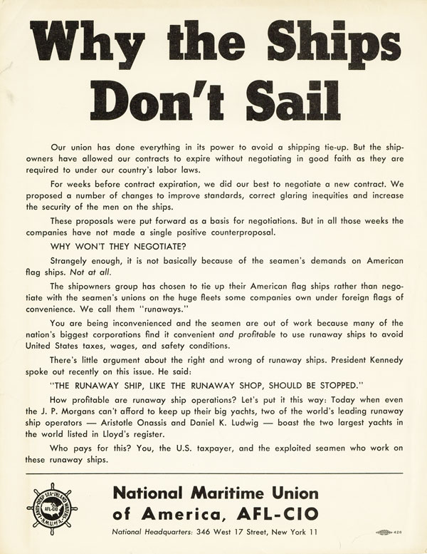Drop title] Why the Ships Don't Sail. ORGANIZED LABOR, NATIONAL MARITIME UNION OF AMERICA / AFL-CIO