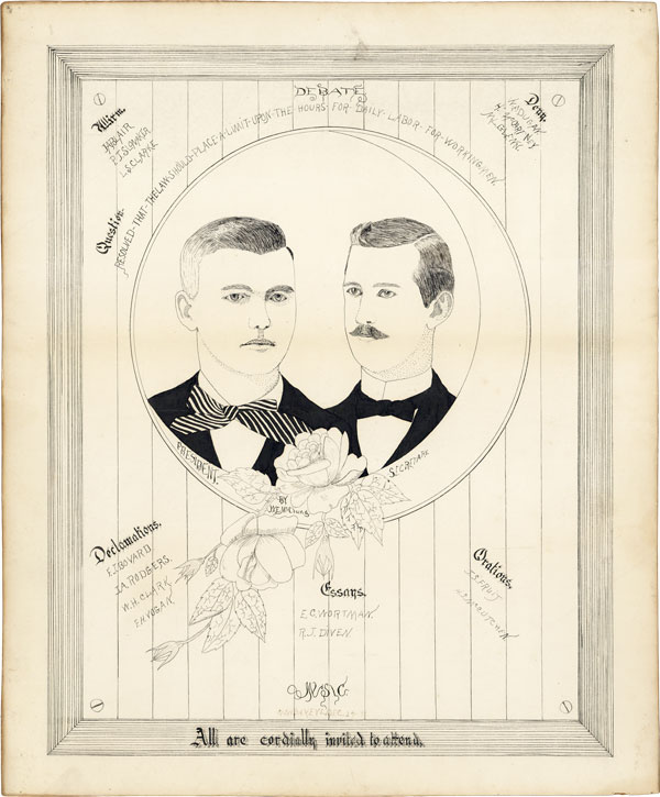 "Original Hand-Drawn Broadside Advertising the Debate ""Question - Resolved that the Law Should..."