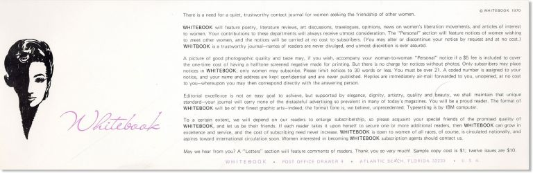 "Prospectus for Whitebook, a ""contact journal for women seeking the friendship of other women""..."