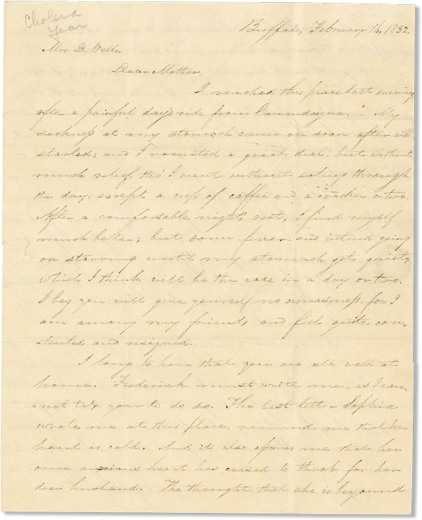 Two Autograph Letters, Signed, to His Mother Mrs. D. Wells. AMERICANA - CHOLERA, William WILLIAMS