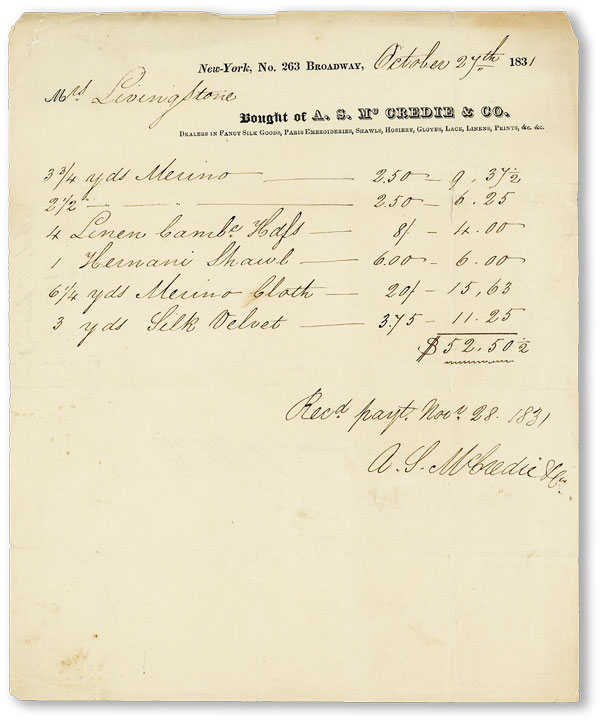 Original Printed and Manuscript Receipt. A S. McCREDIE, CO
