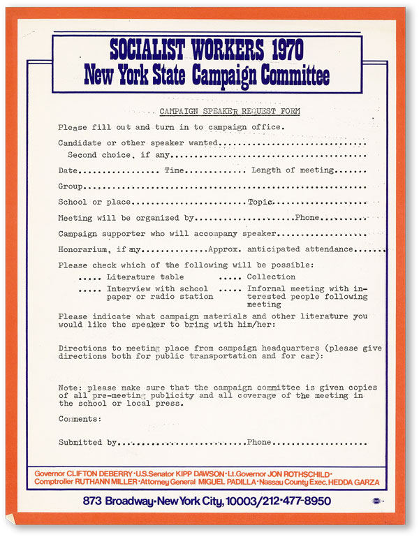 Socialist Workers 1970 / New York State Campaign Committee / Campaign Speaker Request Form....