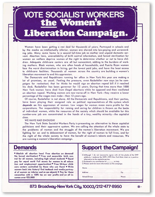 Vote Socialist Workers - The Women's Liberation Campaign / The Militant Labor Forum presents a...